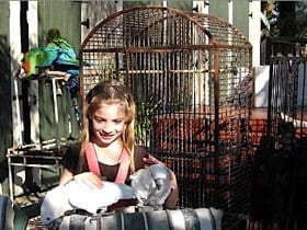 Mary with her favorite birds
