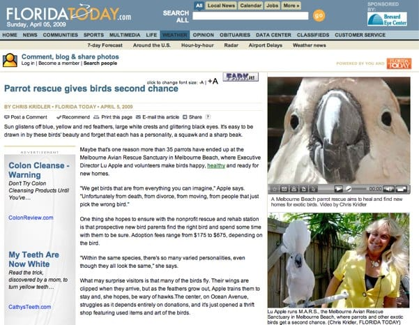 "Story about the Melbourne Avian Rescue Sanctuary in ""Florida Today"""